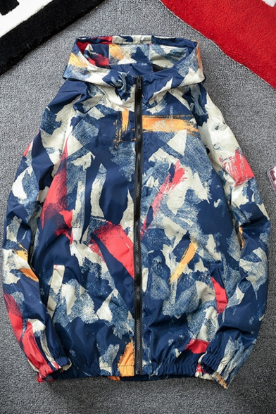 Fashion Camo Printed Side Pockets Long Sleeve Zip Closure Men's Hooded Waterproof Windbreaker Jacket