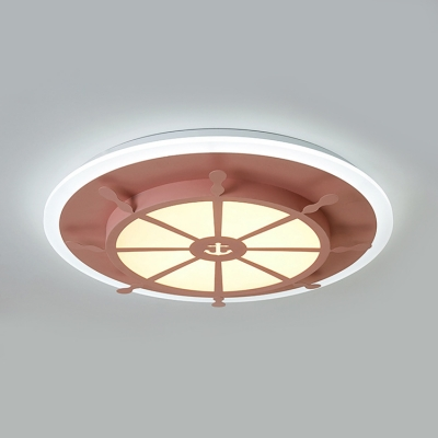 Round Rudder LED Ceiling Light Blue/Pink Lighting Fixture with Acrylic Shade for Boys Girls Bedroom