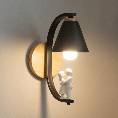Tapered 1 Light Wall Mount Fixture Black/White Decorative Metal Wall Sconce for Bedroom Coffee Shop