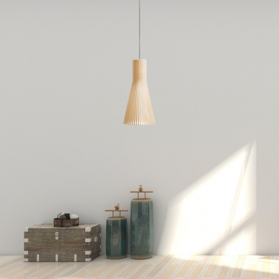 Wood Cone-Shaped Pendant Light Single Light Modern Hanging Light for Porch, 14