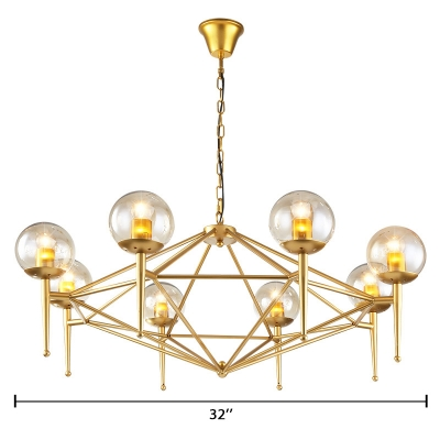 Torch Shape Hanging Light Fixture with Globe Glass Shade Contemporary 8-Light Chandelier Light in Textured Gold