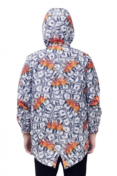 Grey Unisex Hip Hop US Dollar Print Fishtail Hem Loose Hooded Longline Windbreaker Jacket