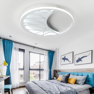 Moon Shape Flushmount with Circle Simple Modern Boys Girls Bedroom Acrylic LED Ceiling Light in White