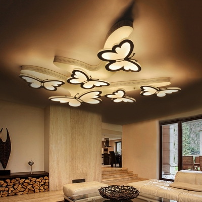 Nordic Style Butterfly LED Flush Light Decorative White Ceiling Fixture with Acrylic Shade for Nursing Room
