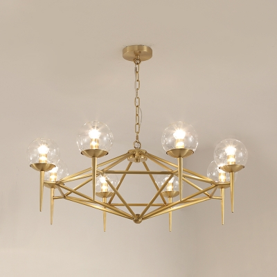 6/8 Lights Torch Hanging Chandelier Luxury Modern Clear Glass Decorative Suspended Light in Gold