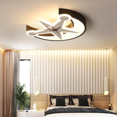 Creative Moon and Star Indoor Lighting with Clock Children Bedroom Acrylic LED Flush Light in Black