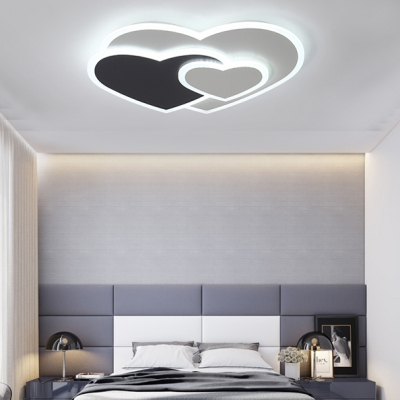 Modern Nordic Loving Heart Flush Light Restaurant Sitting Room Acrylic LED Ceiling Light in Black White