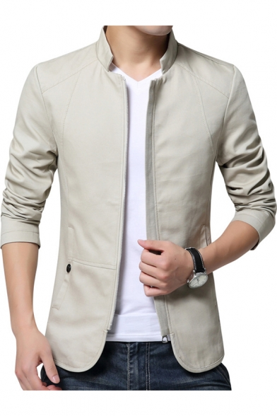 Plain Stand Collar Long Sleeve Zip Closure Slim Cotton Wash Jacket for Men
