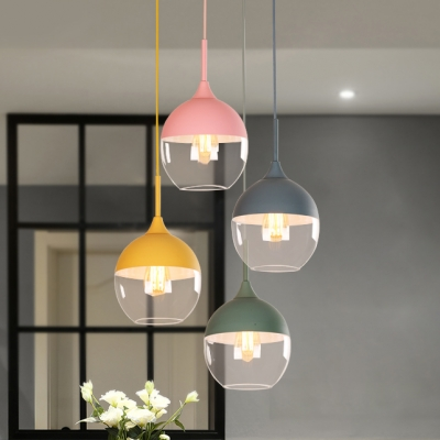 1 Light Teardrop Pendant Lighting Modern Chic Glass Shade Hanging Lamp in Blue/Green/Yellow/Pink for Kids
