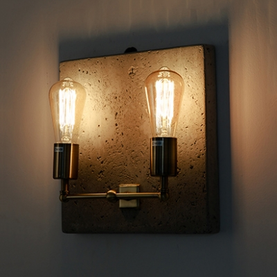 Edison Bulb Sconce Light Vintage Antique-Style Metal 2 Lights Wall Lamp in Aged Brass for Corridor