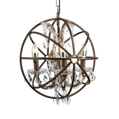 Black Candle Pendant Lighting with Crystals 6-Light Rustic Chandelier for Living Room, 21.5