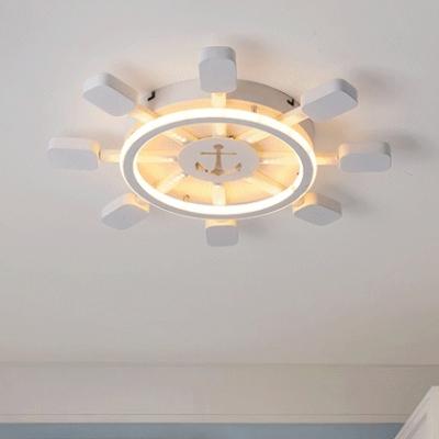 Modernism Round Rudder Flush Light Baby Kids Room Acrylic Decorative LED Ceiling Lamp in White