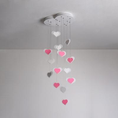 Pink/White Loving Heart Hanging Ceiling Lamp Acrylic 15 Lights Pendant Lamp for Girls Bedroom