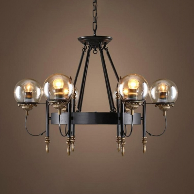 Cognac Glass Globe Shade Pendant Light 6 Lights Vintage Chandelier in Antique Brass for Restaurant