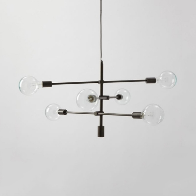 Black Linear Suspension Light Modern Chic Metallic 6 Lights Ambient Chandelier Light for Sitting Room