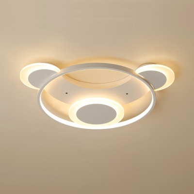 Creative Cartoon Bear Flush Mount with Ring Contemporary Baby Room Acrylic LED Flush Light in White