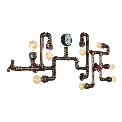 Industrial Vintage 47''W Multi Light Wall Sconce with 8 Light and Pipe Fixture Arm in Bar Style