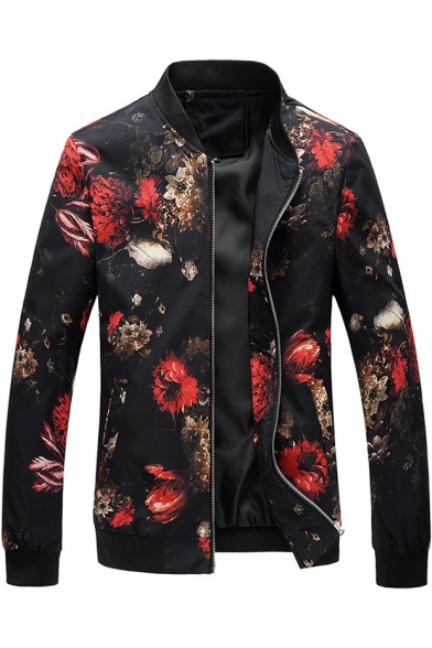 Men's Stylish Floral Printed Stand Collar Zipper Front Long Sleeve Fitted Jacket