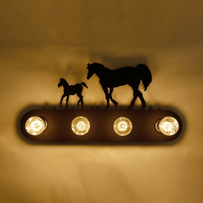 Metallic Sconce Lighting with Horse Design Lodge Style Black 4 Heads Wall Mount Fixture for Bar Counter