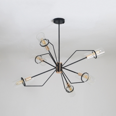 Modernism Tube Chandelier Lamp Clear Glass 1/3/6 Lights Hanging Ceiling Lamp in Brass for Dining Room