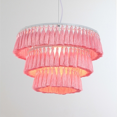 Multi Tiers 1 Light Hanging Light with Pink/White Tassels Metal Hanging Ceiling Lamp for Living Room
