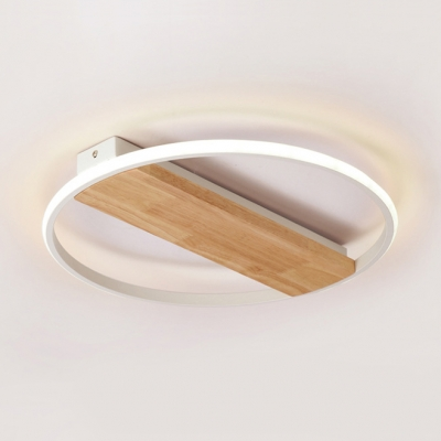 Wood Linear LED Ceiling Lamp with Halo Ring Minimalist Bedroom Flush Light Fixture in Second Gear