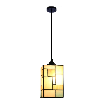 Stained Glass Square Pendant Light Mission Style 1 Light Hanging Ceiling Lamp in Black Finish