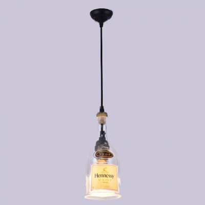 Clear Glass Wine Bottle Pendant Light with 59