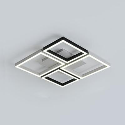 Black/White Square Frame Flush Light Contemporary Metal Surface Mount LED Light for Sitting Room