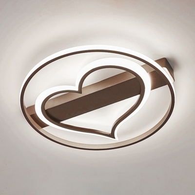Ring and Loving Heart Ceiling Lamp Coffee Shop Restaurant Metallic LED Flush Mount in Coffee/White