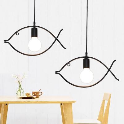 Bare Bulb Pendant Lamp with Fish Shape Metal Frame Simple Kindergarten 1 Head Hanging Lamp in Black