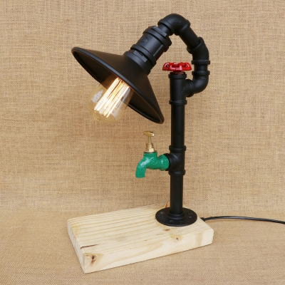 Industrial Table Light with Wood Base in Black Cone Shape HL445851 фото