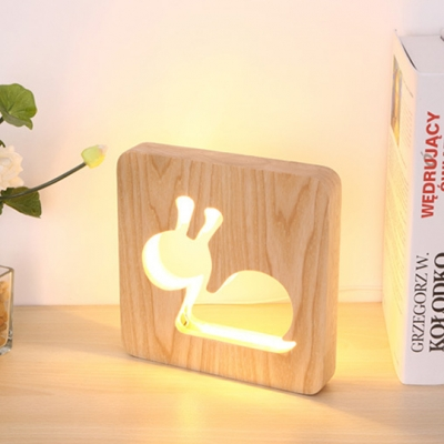 Nordic Style Square Table Light with Cute Snail Boys Girls Bedroom Wood Standing Desk Lamp