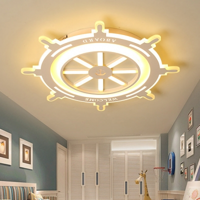 White Round Rudder Ceiling Fixture with Acrylic Lampshade LED Flush Mount for Kindergarten Nursing Room