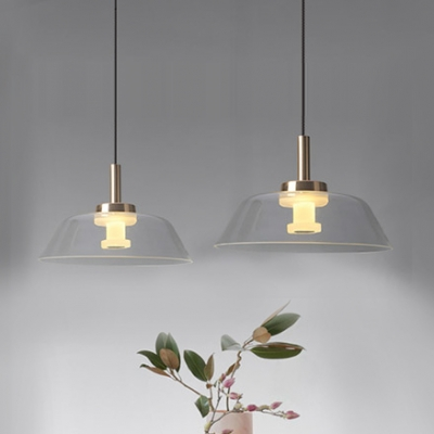 1 Head Barn Hanging Light Fixture Simplicity Clear Glass Ambient Suspended Light in Warm for Dining Room