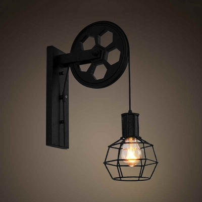 Black Metal Cage Wall Light With Pulley 1 Light Industrial
