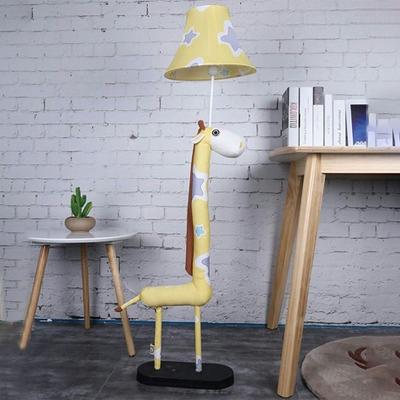 Fabric Floor Lamp with Animal Base White Finish Single Light Standing Light for Boys Girls Bedroom