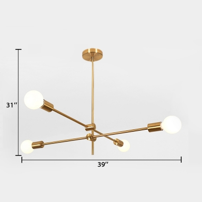 Linear Restaurant Lighting with Open Bulb Minimalist Modern Metal 2/4/6 Lights Chandelier in Gold