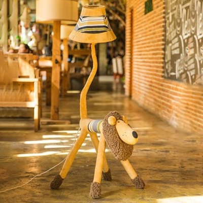 1 Bulb Plush Animal Standing Light with Strip Shade Children Room Kindergarten Fabric Floor Lamp