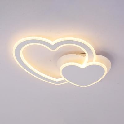 Lovely Heart Shape LED Ceiling Lamp White Acrylic Decorative Flush Light Fixture for Children Room