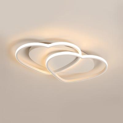 Loving Heart LED Flushmount with Oval Metal Canopy White Flush Light Fixture for Corridor Hallway