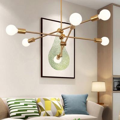 Minimalist Open Bulb Suspension Light Metal Multi Light Lighting Fixture for Sitting Room