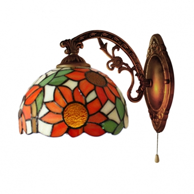 Domed Wall Light with Pull Chain Stained Glass Tiffany Wall Mount Fixture, 10