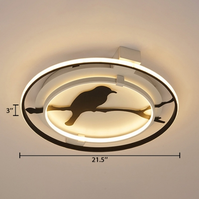 Double Ring Flush Light with Black Bird Silhouette Sitting Room Metal Art Deco LED Flush Mount Lighting