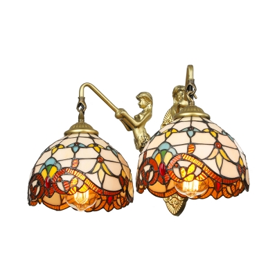 Stained Glass Bowl Sconce Lighting 2-Light Tiffany Wall Light in Antique Brass with Mermaid