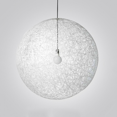 Globe Pendant Light with White Rattan Shade Single Light Modern Drop Ceiling Lighting, 6