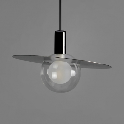 Contemporary Mini Ball Pendant Light with Metal Disc Single Bulb Suspension Light in Gloss Black for Coffee Shop