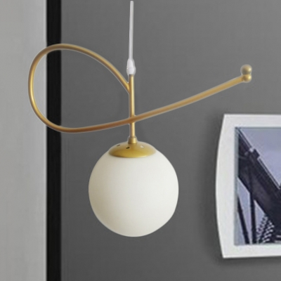 Milky Glass Sphere Shade Suspended Light Simple Concise Single Light Drop Ceiling Lighting in Gold