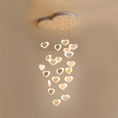 Acrylic Sweet Heart Hanging Lamp Nursing Room Multi Light Hanging Light Fixture with White Canopy