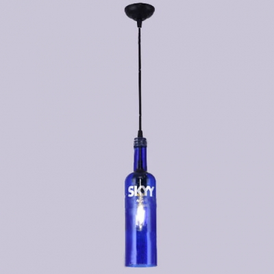 Blue Glass Bottle Pendant Light Vintage Single Head Hanging Pendant for Bar Counter Cafe